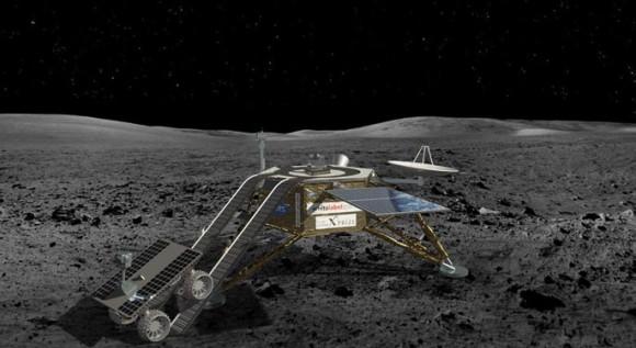 De lander van White Label Space, voorzien van maankarretje, is een van de Nederlandse kanshebbers voor de Google Lunar X-Prize.